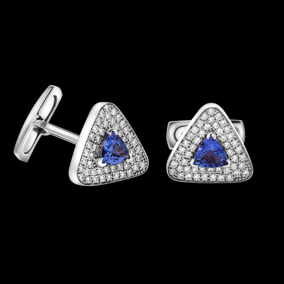 OC Men's 18K White Gold Cufflinks with Tanzanite and White Diamonds