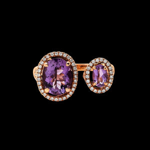 OC Wonders 18K Rose Gold Ring with Amethyst and White Diamonds