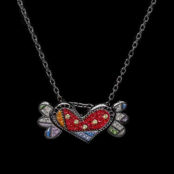 Romero Britto Collaboration Pendant/Ring in Silver with Enamel Details, Swarovski Crystals