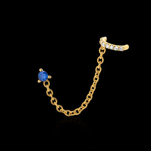OC Symbols Silver Gold plated stud/chain ear cuff with a  Diamond and Blue Sapphires  (one side only)