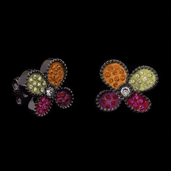 Romero Britto Collaboration Flower Earrings in Silver, Enamel Details and Swarovski Crystals