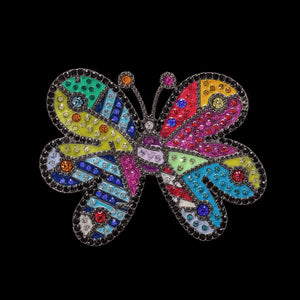Romero Britto Collaboration Pin in Silver with Enamel Details and Swarovski Crystals