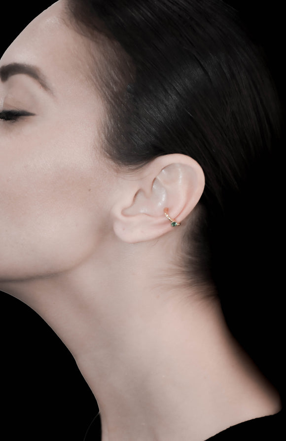 OC Symbols Silver Gold plated Ear cuff with Emerald (one side only)