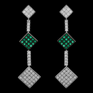 OC Forever 18K White Gold Charmante Earring with White Diamonds and Emeralds