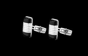 OC Men's 18K White Gold Thin Cufflinks with Black Onyx and White Pattern