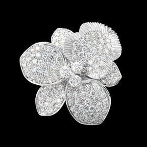 OC Wonders 18K White Gold Orchid Ring with White Diamonds