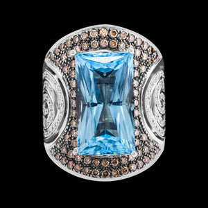 OC Vintage 18K White Gold Ring with Blue Topaz, and White and Brown Diamonds