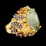 OC Wonders 18K Yellow Gold Ring with Multi-color Sapphires, Diamonds and Prasiolite