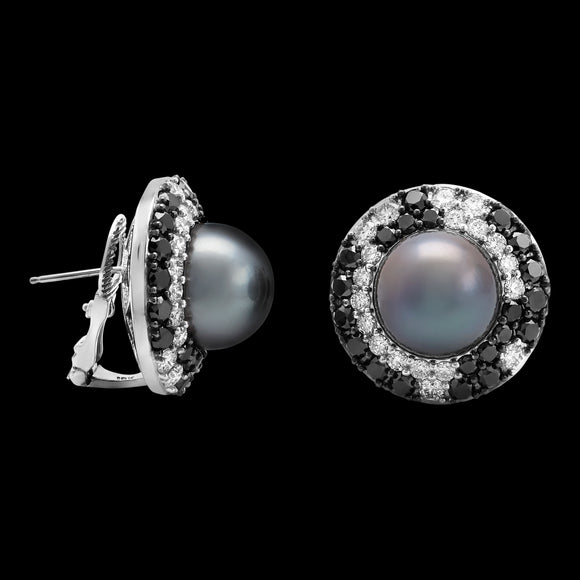 OC Pearls 18K White Gold Earrings with Grey Pearl and Black and White Diamonds