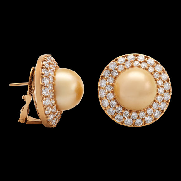 OC Pearls 18K Yellow Gold Earrings with Yellow Pearl and White Diamonds