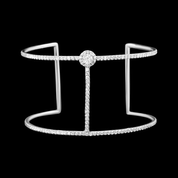 OC Slav 18K White Gold Cuff with White Diamonds