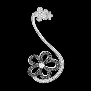 OC Wonders 18K White Gold Flower Ear Cuff with Black and White Diamonds (One Side)