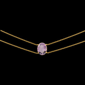 OC Vintage 18K Yellow or White Gold Choker with Center Amethyst