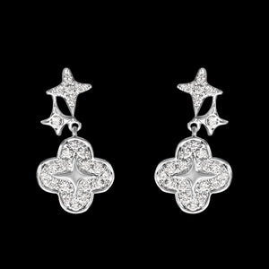 OC Wonders 18K White/Yellow Gold Earrings with 2 Stars and 1 Wonder Flower