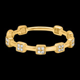 OC Slav 18K Gold Ring with Squares and 4 White Diamonds Each