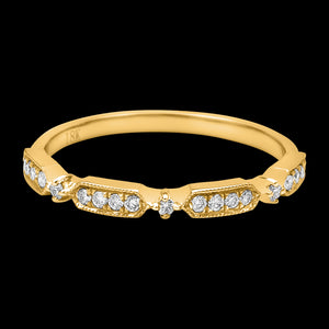 OC Slav 18K Gold Ring with Round Diamonds / Rectangles with 3 White Diamonds Each