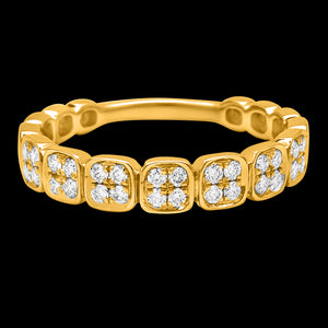 OC Slav 18K Gold Ring with Squares Set in Pave White Diamonds