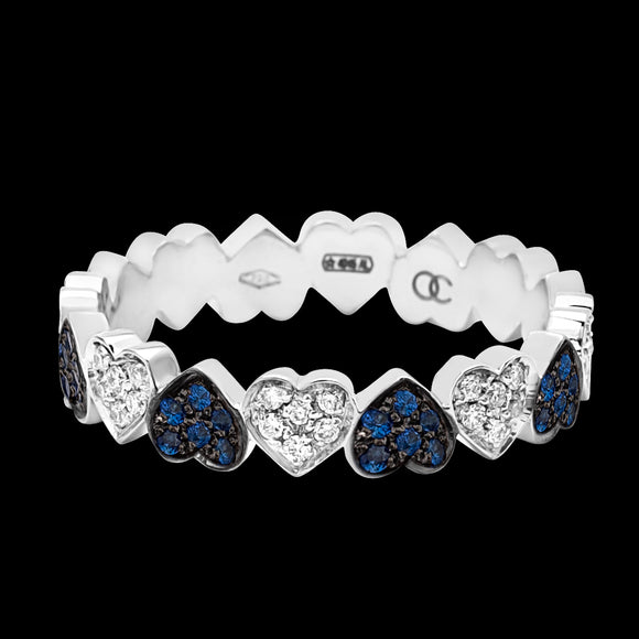 OC Romance 18K White Gold Heart Band with Sapphires and White Diamonds