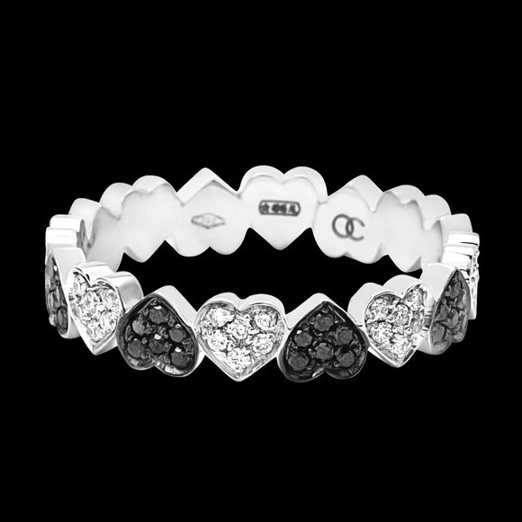 OC Romance 18K White Gold Heart Band with Black and White Diamonds