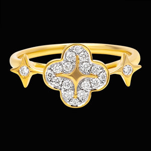 OC Wonders 18K Yellow Gold Ring with 1 Wonder Flower and 2 White Diamond Stars