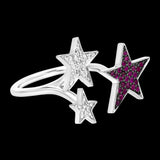 OC Symbols 18K White Gold Ring with 2 Stars in White Diamond and Rubies