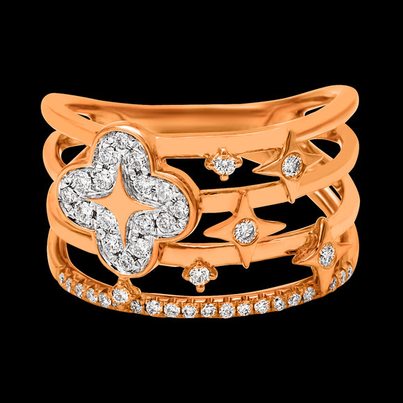 OC Wonders 18K Rose Gold Ring with 4 Lines and 1 Wonder Flower in White Diamonds