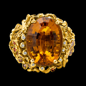 OC Wonders 18K Yellow Gold Ring with Multi-color Sapphires, Diamonds and Citrine