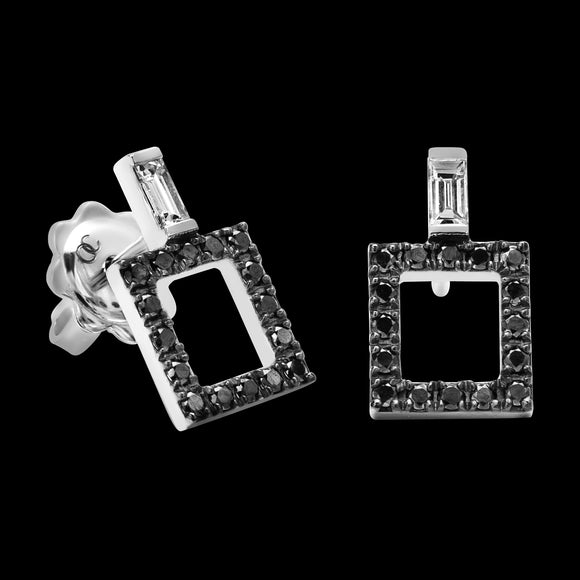OC Symbols 18K White Gold Square Earrings with Black Diamonds and White Diamond Baguettes