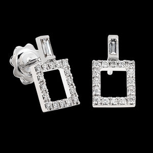 OC Symbols 18K White Gold Square Earrings with White Diamonds and White Diamond Baguettes
