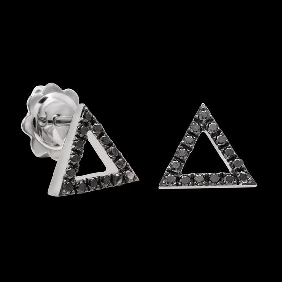 OC Symbols 18K White Gold Triangle Earrings with Black Diamonds