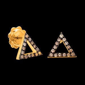 OC Symbols 18K Yellow Gold Triangle Earrings with Brown Diamonds