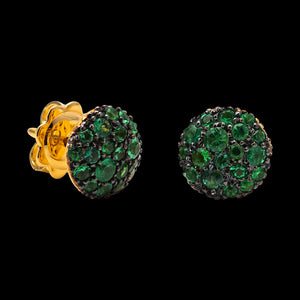 OC Symbols 18K Yellow Gold Button Earrings with Emeralds
