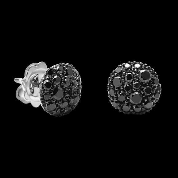 OC Symbols 18K White Gold Button Earrings with Black Diamonds
