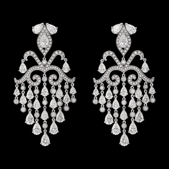 OC Tales 18K White Gold Chandelier Earrings with White Diamonds