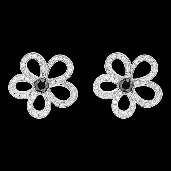 OC Wonders 18K White Gold Flower Earrings with White Diamonds and Center Black Diamond