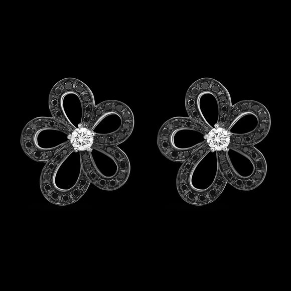 OC Wonders 18K White Gold Flower Earrings with Black Diamonds and Center White Diamond