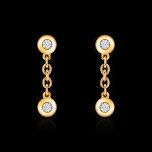 OC Symbols Silver Gold plated drop bezel Earring with Diamonds (one side only)