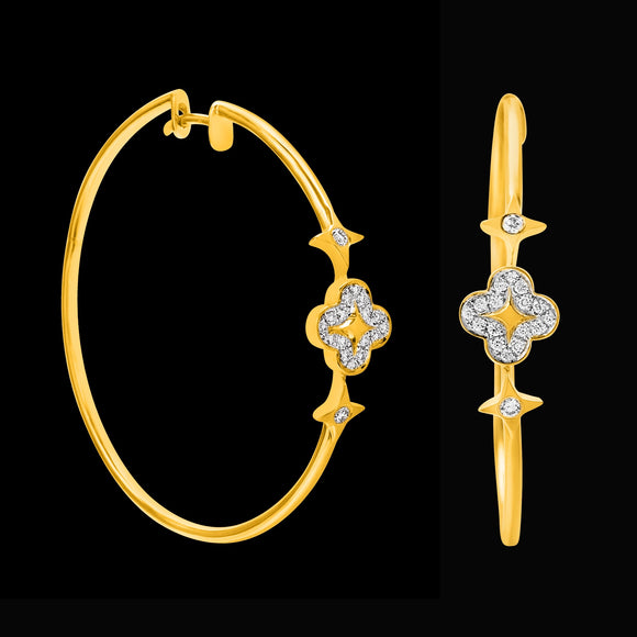 OC Wonders 18K Gold Hoop Earrings with 1 Wonder Flower and 2 Side Stars