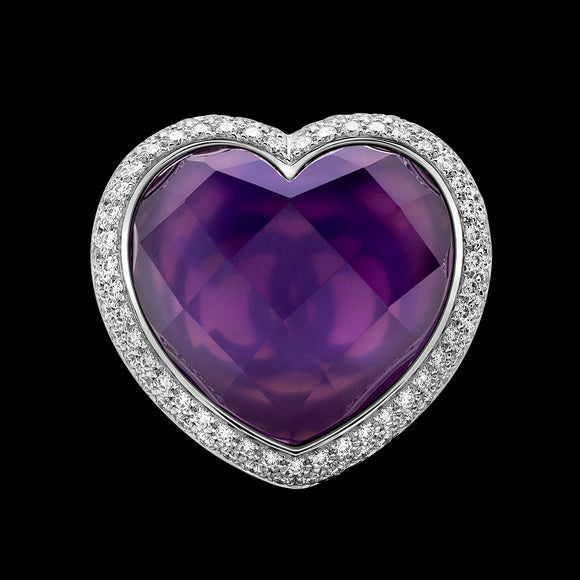 OC Romance 18K White Gold Ring with Center Amethyst Heart