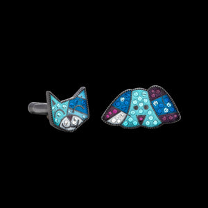Romero Britto Collaboration Cat/Dog Cufflinks in Silver with Enamel and Swarovski crystals