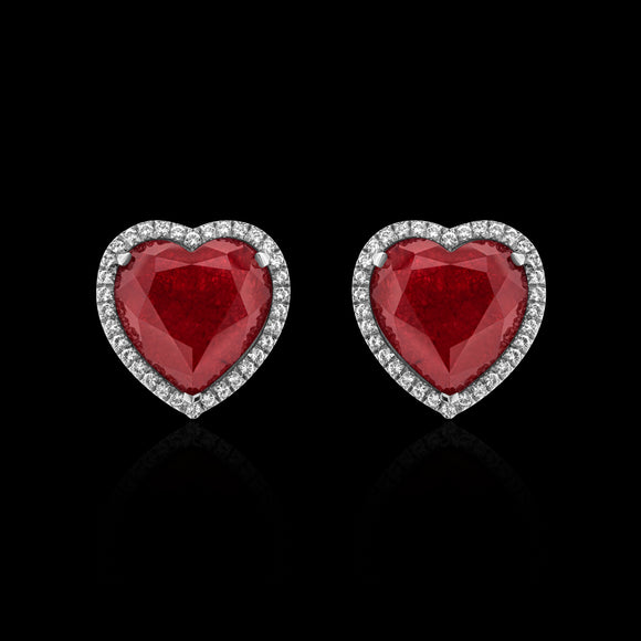 OC Limited 18K White  Gold Heart Earrings with Red Topaz and Diamonds