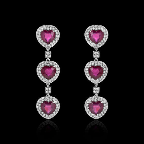 OC Limited 18K White  Gold Heart Earrings with Rubies and Diamonds