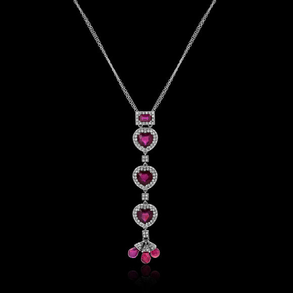 OC Limited 18K White  Gold Heart  Necklace with Rubies and Diamonds