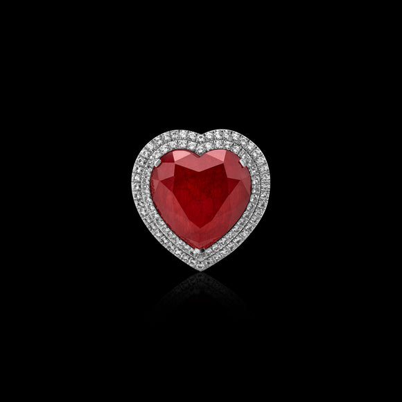 OC Limited 18K White  Gold Heart Ring with Red Topaz and Diamonds