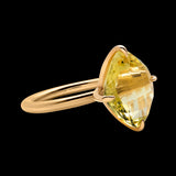 OC Vintage 18K Yellow Gold Ring with Lemon Quartz