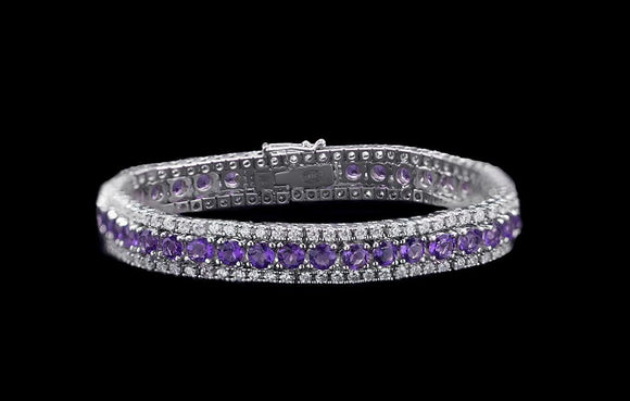 OC FOREVER 18K WHITE GOLD BRACELET WITH AMETHYST AND DIAMONDS