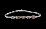OC Forever 18K White Gold Personalized Tennis Bracelet in Diamonds with AMORE In Brown Diamonds