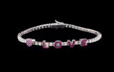 OC Forever 18K White Gold Personalized Tennis Bracelet In Diamonds with LOVE in Rubies