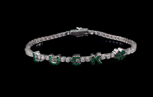 OC Forever 18K White Gold Personalized Tennis Bracelet In Diamonds with LUCKY in Emeralds