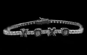 OC Forever 18K White Gold Personalized Tennis Bracelet In Diamonds with XOXO In Black Diamonds